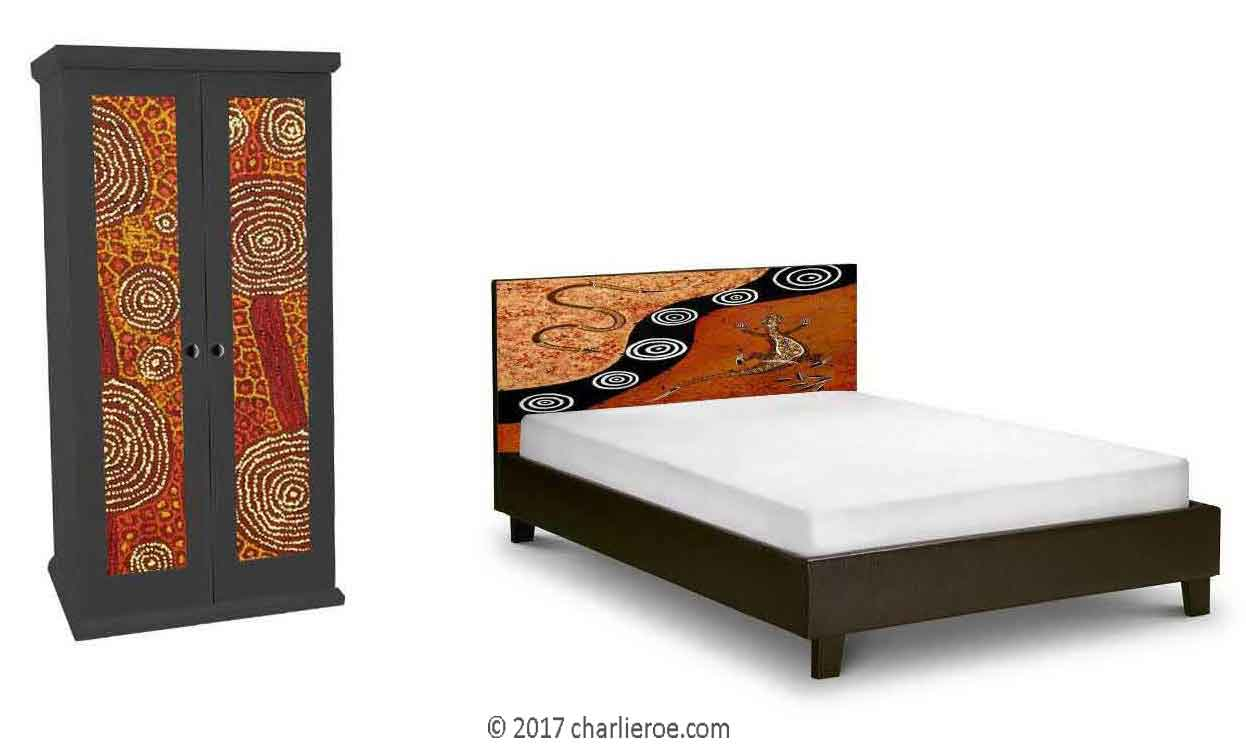 new Aborigine style painted bed & double wardrobe with abstract 'dot' painted panels