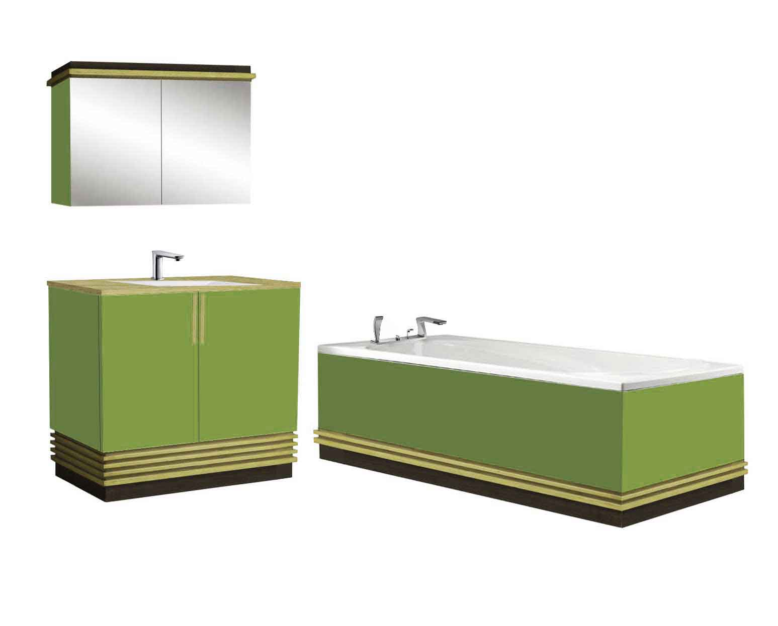 new Art Deco Streamlined style lacquered wood bathroom vanity unit