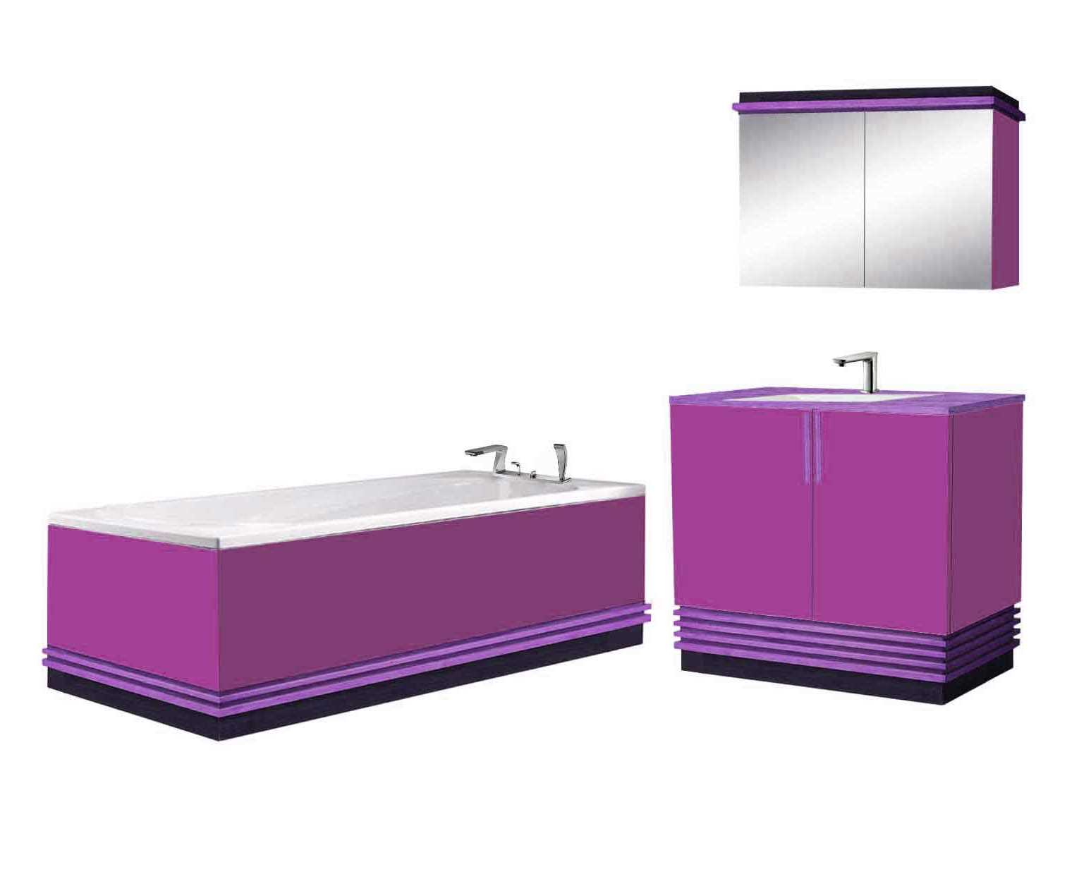 New Art Deco Streamlined Style Lacquered Wood Bathroom