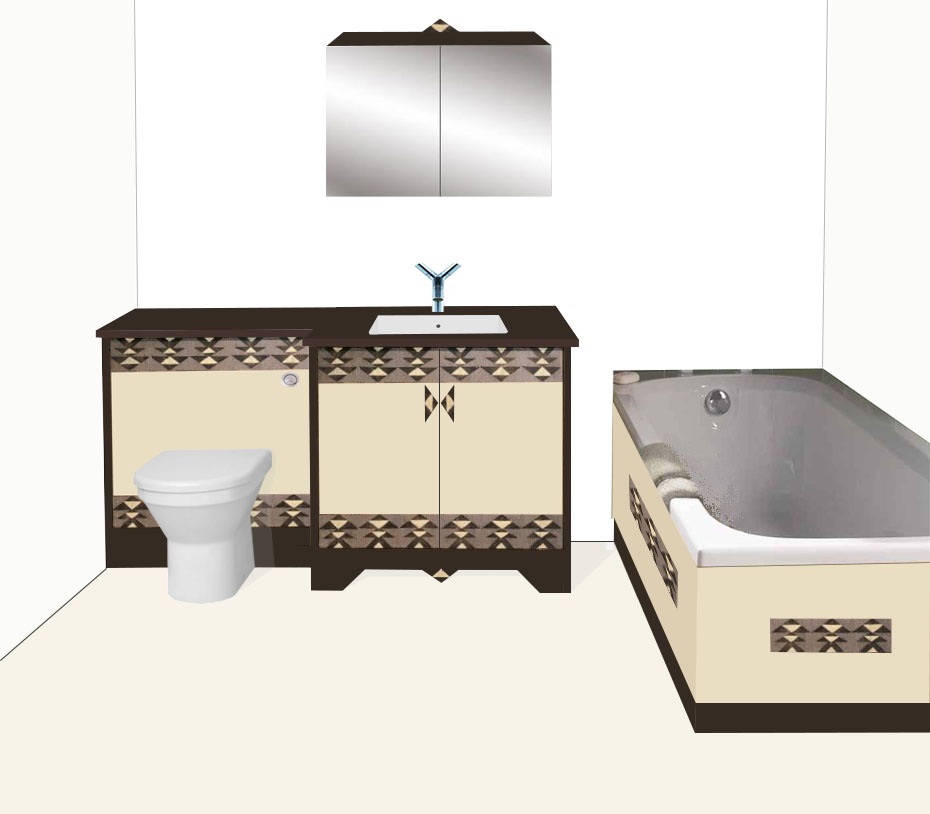 new art deco painted 2 door bathroom vanity unit with