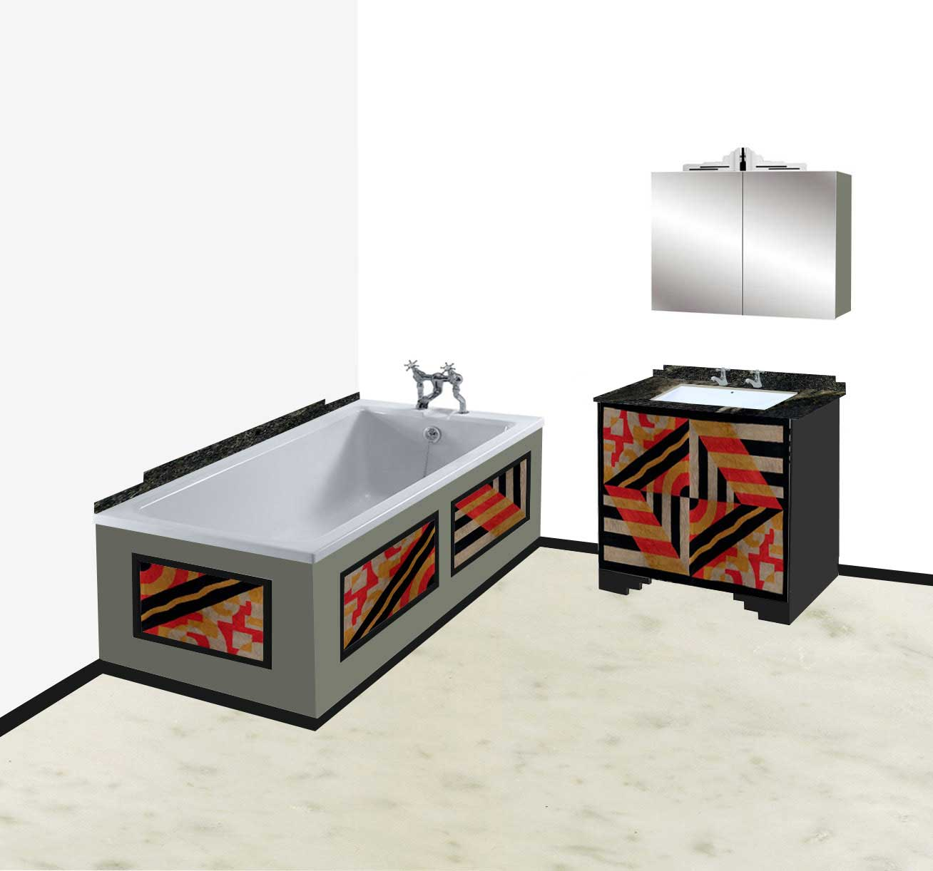 New Art Deco Abstract Cubist Designs Bathroom Vanity Unit Bathroom Furn