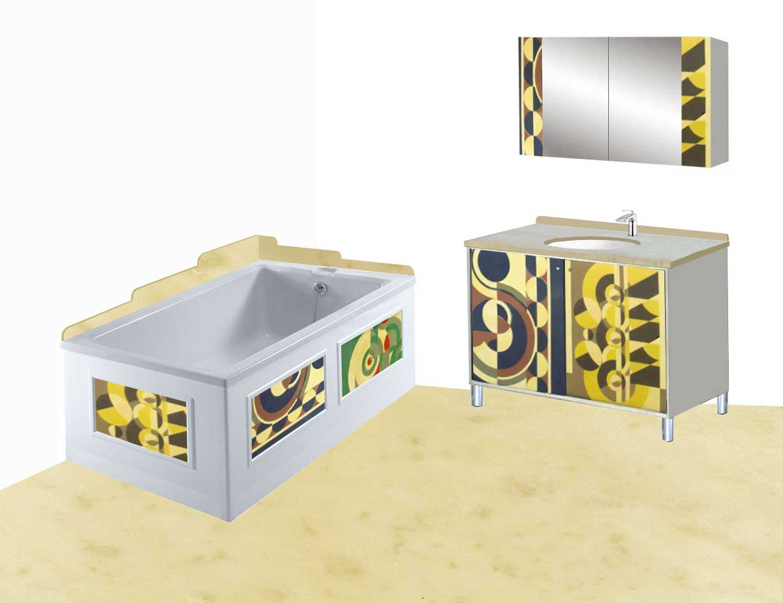 New Art Deco Rene Herbst style Abstract Cubist bathroom vanity unit ...