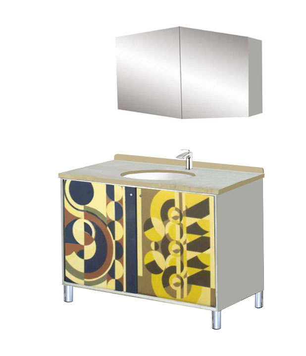New Art Deco Rene Herbst Style Abstract Cubist Bathroom Vanity Unit Bat
