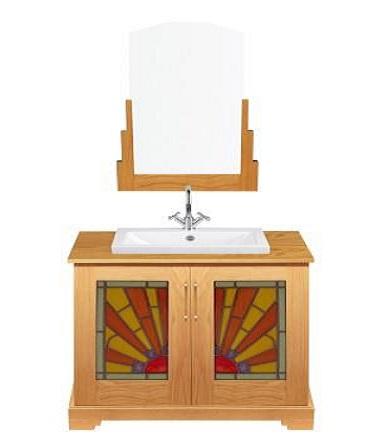 New Art Deco Oak 2 Door Bathroom Vanity Unit With Rising Sun Stained Glass Panels