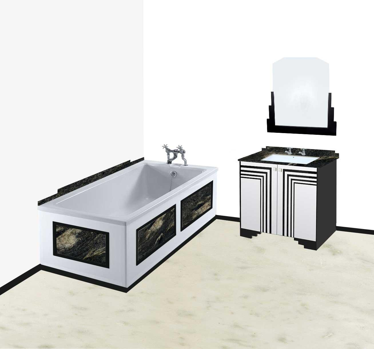 New art deco skyscraper style bathroom vanity unit for Art deco bathroom vanity lights