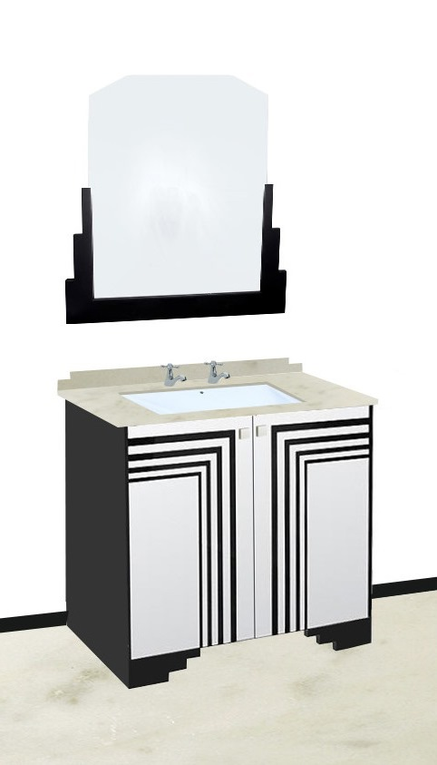 New Art Deco Bathroom Stepped Vanity Unit With Carerra Marble Worktop Wall Mirror