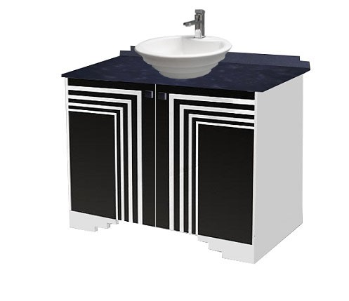 New Art Deco Skyscraper Style Bathroom Vanity Unit Furniture With Streamline
