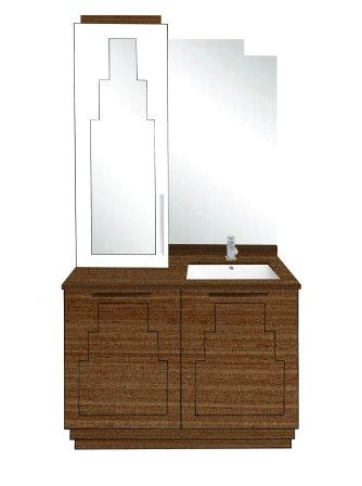 New Art Deco Skyscraper Style 2 Door Bathroom Vanity Unit Bathroom Furn