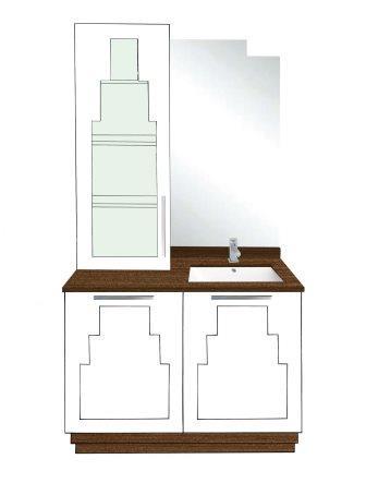 New Art Deco Skyscraper Style 2 Door Bathroom Vanity Unit