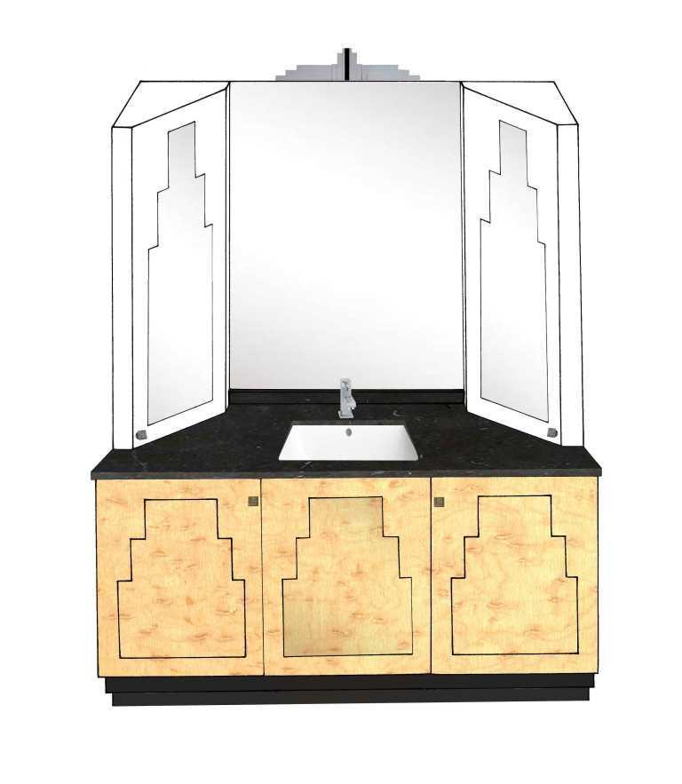 New Art Deco Skyscraper Style 3 Door Bathroom Vanity Unit Bathroom Furniture Bathroom Design