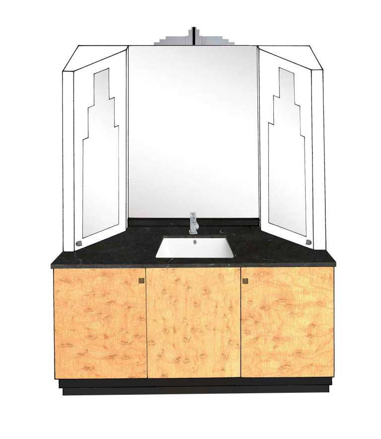 New Art Deco Skyscraper Style 3 Door Bathroom Vanity Unit