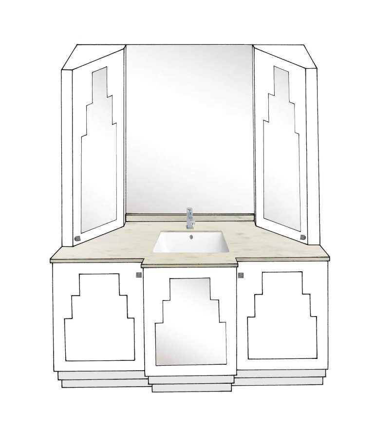 New Art Deco Skyscraper Style 3 Door Bathroom Vanity Unit Bathroom Furn