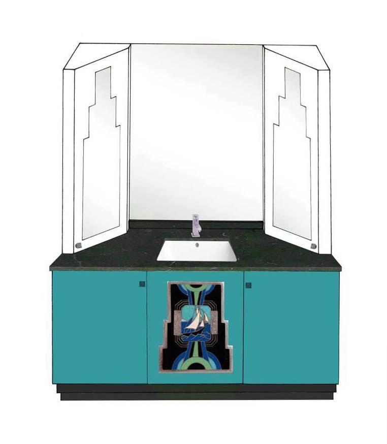 new art deco skyscraper style 3 door bathroom vanity unit