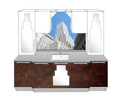New Art Deco Skyscraper Style 5 Door Bathroom Vanity Unit Bathroom Furn