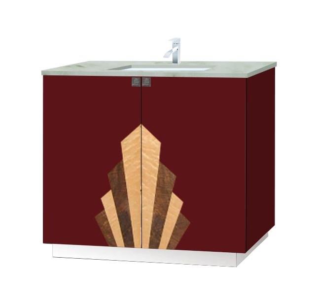 New Art Deco Lacquered Bathroom 2 Door Vanity Unit With Deco Designs On The Doors