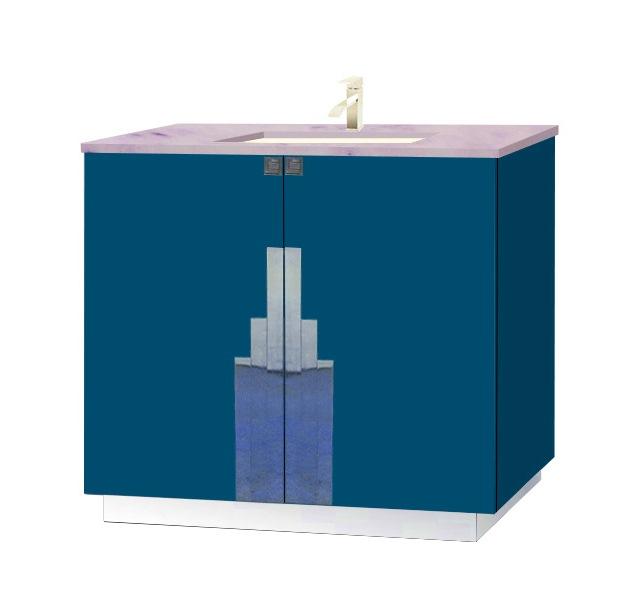 New Art Deco Lacquered Bathroom 2 Door Vanity Unit With