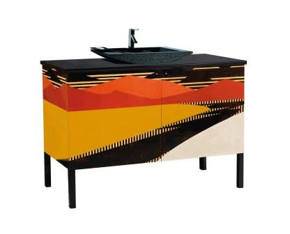 new jean dunand art deco 2 door vanity unit with painted abstract landscape designs with black