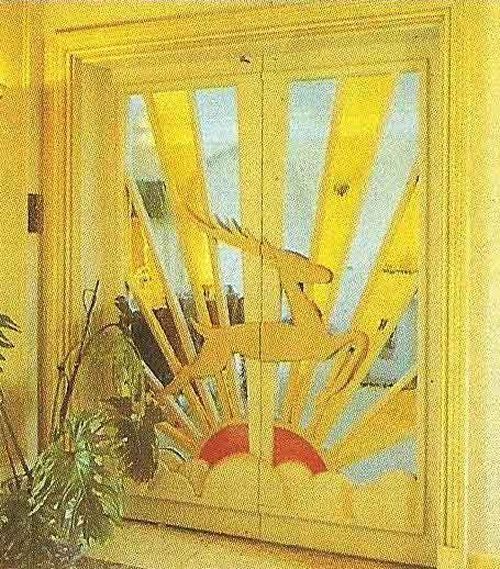 Art Deco Double Doors With Acteon Deer Design