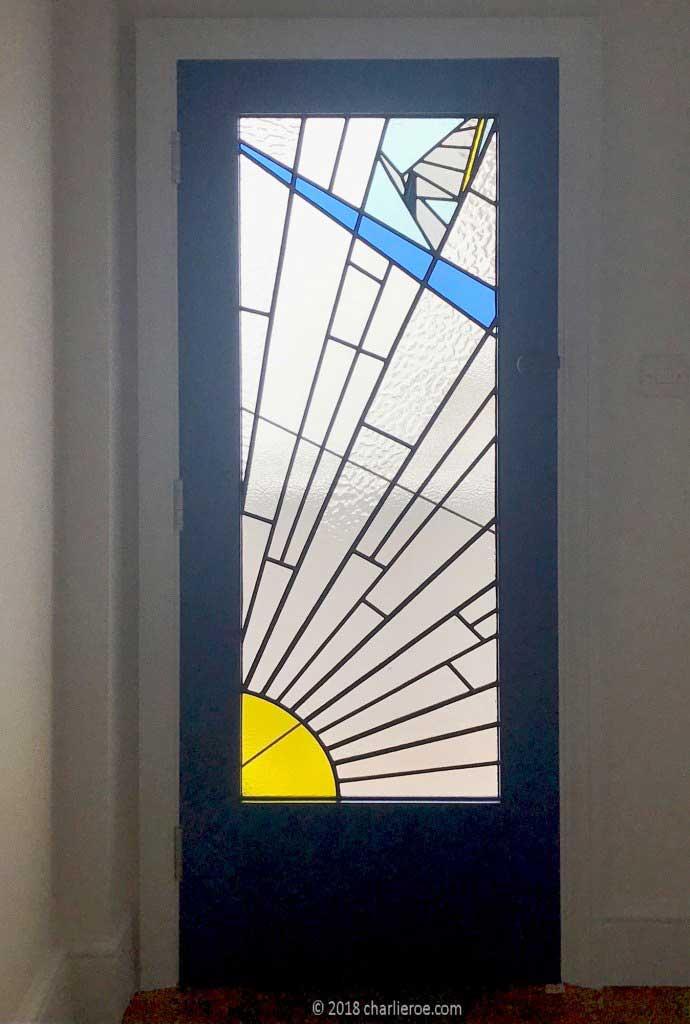 New Art Deco Moderne Door With Cubist Rising Sun Design