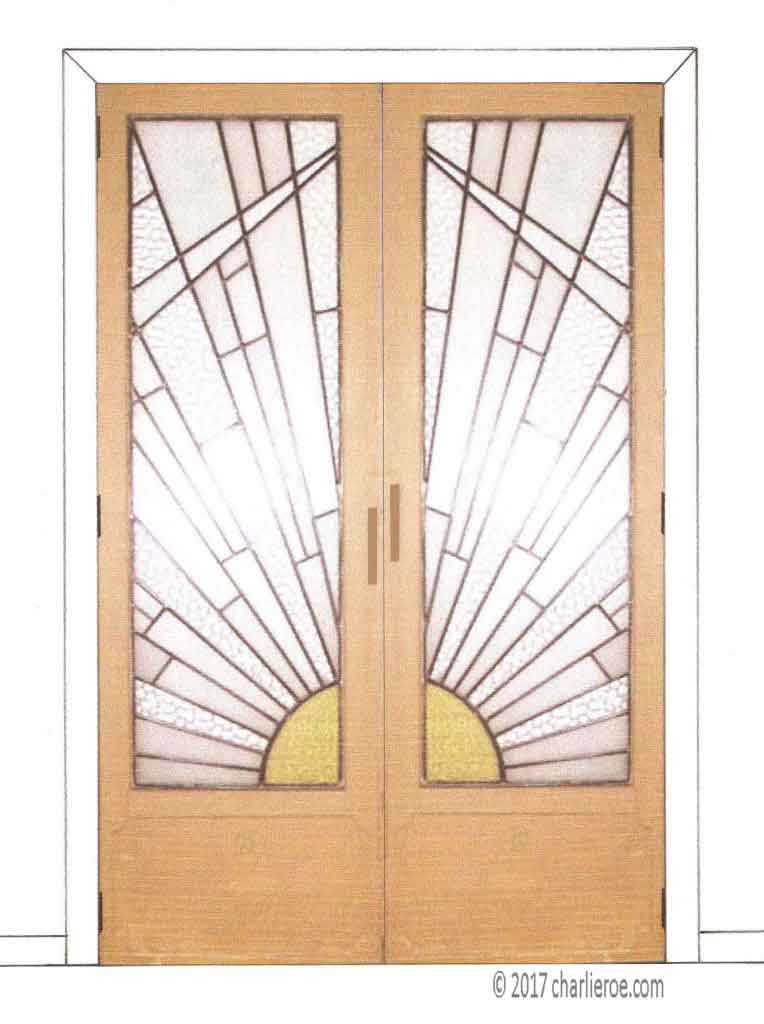 ... new Art Deco Moderne French doors with Cubist Rising Sun design leaded stained glass panel  sc 1 st  Charlieroe & new Art Deco Moderne door with Cubist Rising Sun design leaded ...