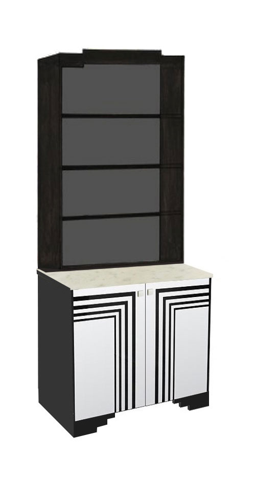 New Art Deco Streamline Moderne Painted Bookcase With Speed Lines ...