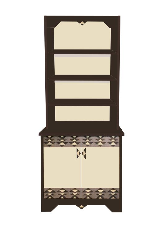 New Art Deco 2 Door Painted Bookcase With Abstract Cubist