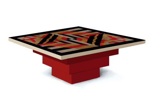 New art deco skyscraper style stepped coffee tables for Table de nuit art deco