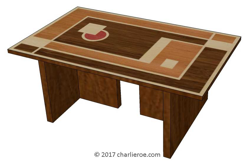 New Art Deco Coffee Table With Walter Dorwin Teague Marquetry Veneered Cubist Geometric Design Top