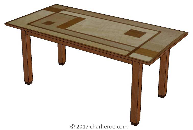 New Art Deco Dining Table With Walter Dorwin Teague Marquetry