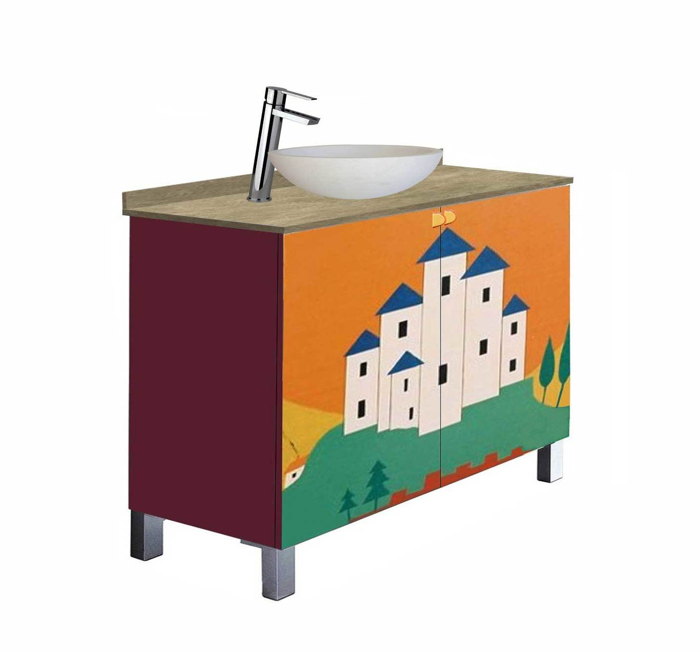 Clarice Cliff Art Deco design painted vanity unit with sit on bowl & tall basin mixer tap bathroom furniture