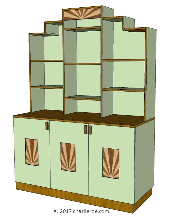 New Art Deco Skyser Style Stepped Kitchen Dresser With Rising Sun Design Marquetry Veneers And Painted