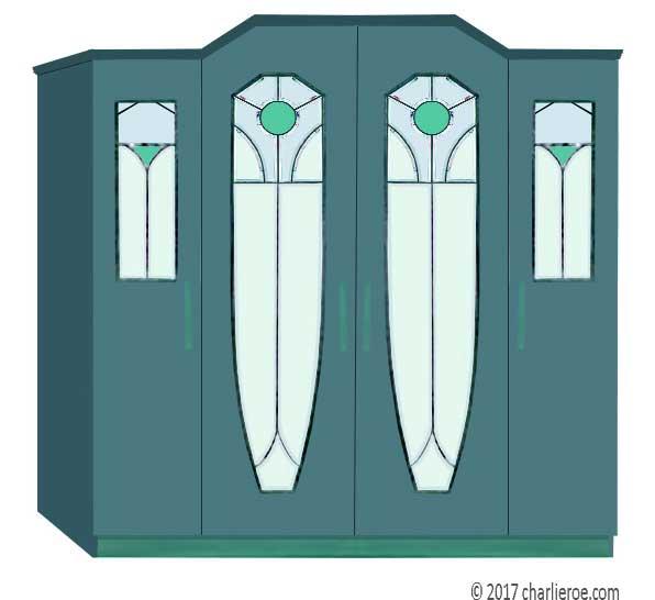 New Art Nouveau & Jugendstil Painted 2, 3, 4 & 5 Door