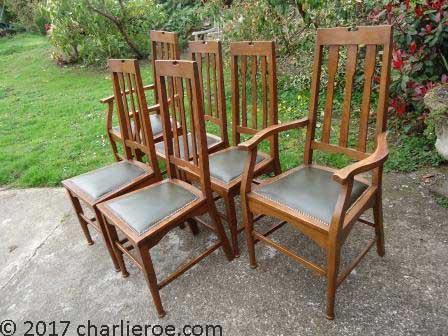 Antique Art Nouveau Oak Wooden Dining Chairs