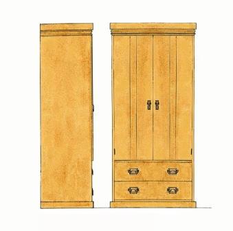 Frank Lloyd Wright Arts Crafts Movement Style 2 Door Bedroom Wardrobe Design Furniture