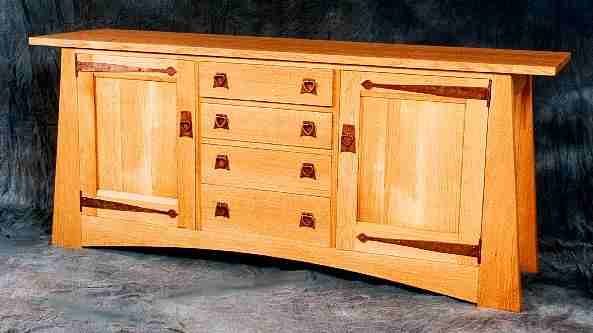 Cfa Voysey Arts Crafts Movement Style Oak Sideboard With Antique Copper Hinges Ings