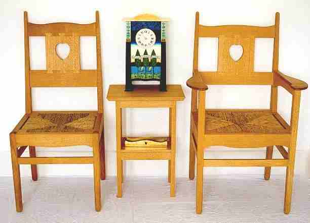 CFA Voysey Oak Arts & Crafts Movement carver & dining chair in natural oak furniture