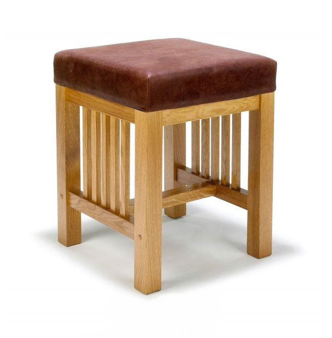 Arts & Crafts Movement Frank Lloyd Wright Mission Prairie style kitchen low stool with leather seat furniture