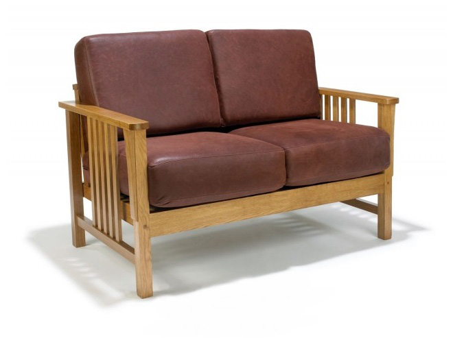 New Arts & Crafts Movement Frank Lloyd Wright Mission Prairie style oak 2 seater sofa with leather cushions