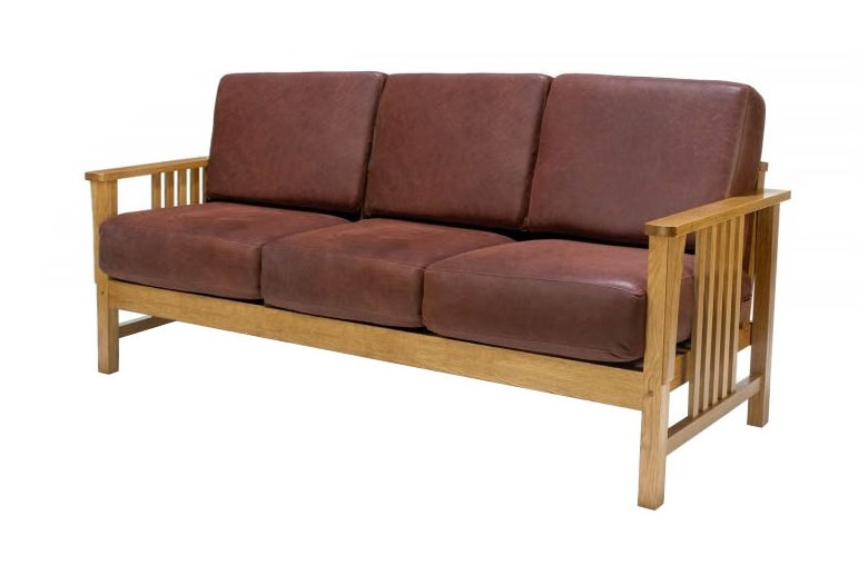 New Arts & Crafts Movement Frank Lloyd Wright Mission Prairie style oak 3 seater sofa with leather cushions