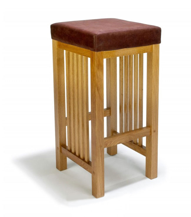 Arts & Crafts Movement Frank Lloyd Wright Mission Prairie style kitchen hi stool with leather seat furniture