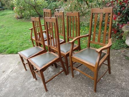 antique Arts & Crafts Movement oak wooden dining chairs ... - New Reproduction Arts & Crafts Movement Oak Dining Table & Coffee Table