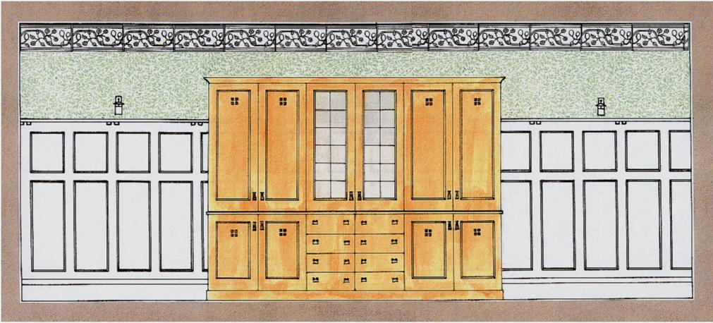 Arts And Crafts Movement Design For An Oak Bookcase Furniture Wall Panelling