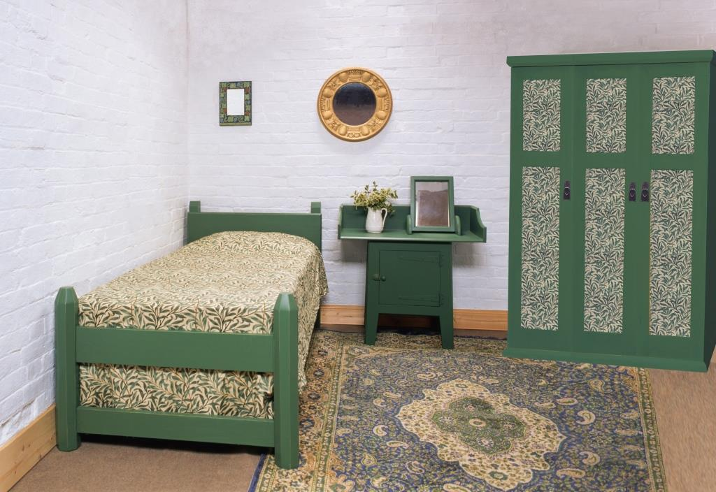 William Wm Morris Co Gothic Arts Crafts Movement Style The Artisan Suite Green Painted Bed Bedroom Furniture