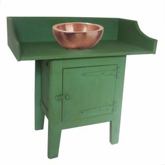 William Morris Arts & Crafts Movement painted bathroom Artisan washstand vanity unit with copper sit-on basin