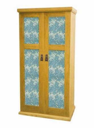 William Morris Arts Crafts Movement Gothic Revival Style 2 Door Oak Bedroom Wardrobe Furniture With