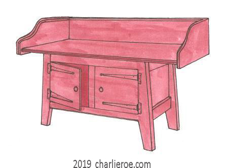 William Morris Arts & Crafts Movement Artisan painted bathroom washstand vanity unit in Dragons Blood red