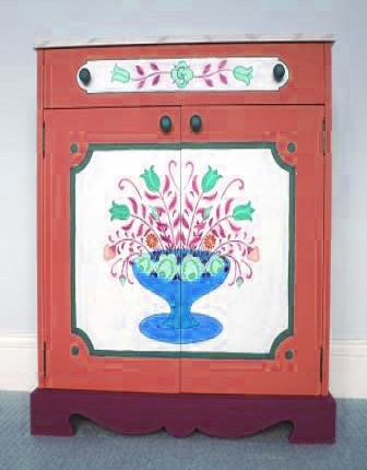 design for an ornate painted Austrian Tyrolean Baroque cupboard folk furniture Bauern mobel