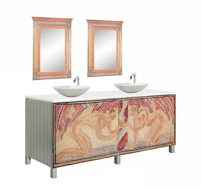 New Omega Workshops Painted Bathroom 4 Door Vanity Unit With 2 Wall Mirrors  ...