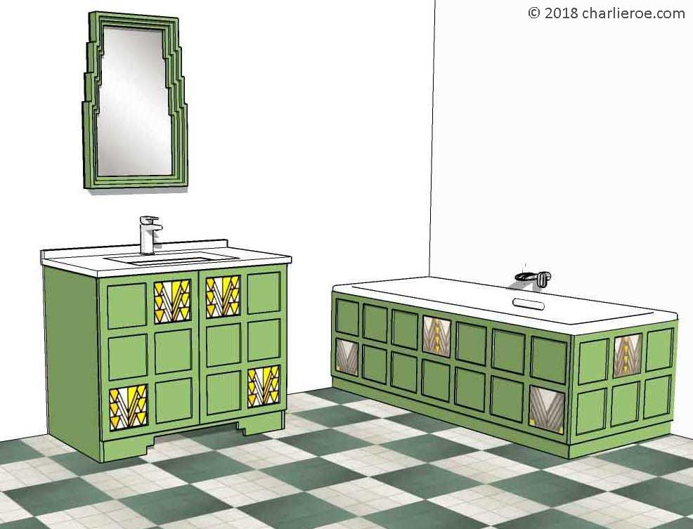 CR Mackintosh Derngate Style Green Painted Bathroom Furniture, Including A  2 Door Vanity Unit ...