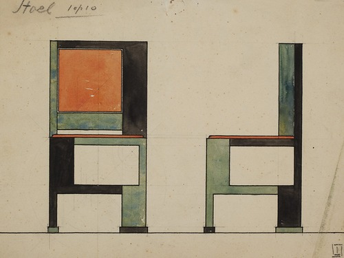 Jan Wils De Stijl painted chair Rietveld Red And Blue Chair